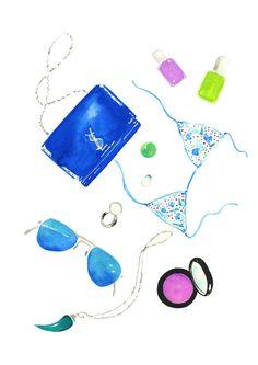 Blue Flatlay In My Bag 8 X 11 Art print Lifestyle & by KomaArt