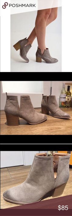 NEW Qupid Taupe Leather V Cut Out Boots - Size 9 NEW Qupid Taupe Leather V Cut Out Boots. Women's size 9. Purchased at the William B boutique in Brentwood, Los Angeles, CA. Very similar to cut-out shoe by Steve Madden, but NOT Steve Madden. Beautiful ankle boots with a very stylish and trendy V cut out in the sides. Perfect beige/gray/taupey color and a great shoe for the winter! 👢❄️ Qupid Shoes Ankle Boots & Booties