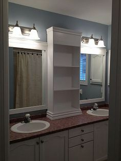 large bathroom mirror redo to double framed mirrors and cabinet, bathroom, design d cor Large Bathrooms, Amazing Bathrooms, Small Bathroom, Master Bathroom, Bathroom Pink, Modern Bathroom, Bathroom Cost, Parisian Bathroom, Shared Bathroom