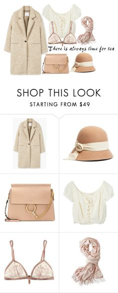"""""""Tea"""" by ivy-ivova ❤ liked on Polyvore featuring MANGO, Brooks Brothers, Chloé, Jens Pirate Booty, Elle Macpherson Intimates and Mark & Graham"""