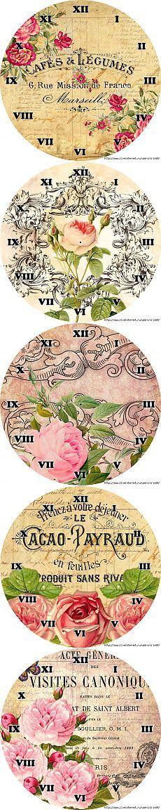 FLORES DE LA VENDIMIA * DIAL * 2 .. Vintage Flowers, Dollhouse Miniatures, Stencils, Arts And Crafts, Collage, Printables, How To Make, Clock, Templates