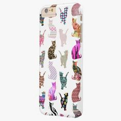 iPhone 6 Plus Cases | Girly Whimsical Cats aztec floral stripes pattern Barely There iPhone 6 Plus Case