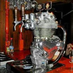 Man Cave beer tap idea - Upcycle Car Parts - Reuse Recycle Repurpose DIY DIY using parts from Cars, Motorcycles, Trucks, and more. -- Pin shared by Automotive Service Garage in Sarasota, FL -https://www.facebook.com/AUTOREPAIRSARASOTA