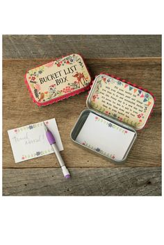 """Fill this Bucket List Box with your dreams and goals! This cream box features the words """"Bucket List Box"""" and a critter with floral design. Comes with a special sentiment on the inside lid."""