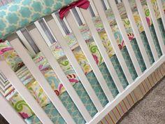 Bumperless crib bedding cot set baby bedding - Kumari garden Tarika blue and Sujata pink  on Etsy, $275.00