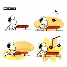 Snoopy plays a tune on the piano. Peanuts Gang, Peanuts Cartoon, Charlie Brown And Snoopy, Peanuts Comics, Music Jokes, Music Humor, Snoopy Love, Snoopy And Woodstock, Hello Kitty Imagenes