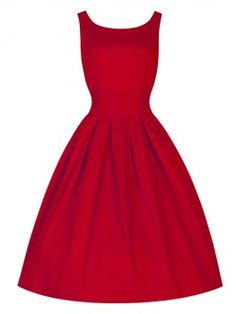 Red Sleeveless Audrey Hepburn Style 50S Retro Vintage Rockabilly Tutu Swing Party Dress
