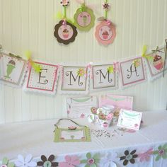 ice cream party banner. I like just doing the name and an ice cream image on each end.