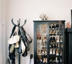 China cabinet turned shoe storage.