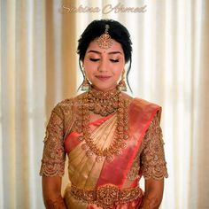 65 Stylish and Trendy Blouse Designs For Saree and Lehenga South Indian Wedding Saree, South Indian Bridal Jewellery, Indian Bridal Sarees, Indian Wedding Wear, Indian Bridal Outfits, Indian Bridal Fashion, Wedding Bride, Bridal Jewelry, Indian Weddings