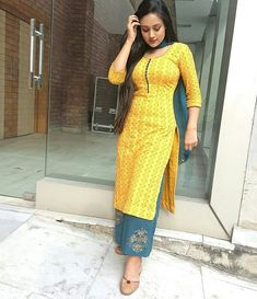 Image may contain: 1 person, standing Salwar Designs, Kurti Designs Party Wear, Indian Designer Outfits, Indian Outfits, Indian Dresses For Women, Indian Wedding Gowns, Indian Bridal, Salwar Dress, Indian Beauty Saree