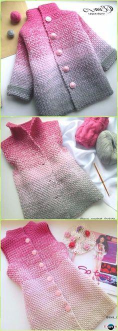 69ed46a7489136 Crochet Glamorous Beauty Ombre Baby Cardigan Free Pattern Video - Crochet  Kid s Sweater Coat Free Patterns