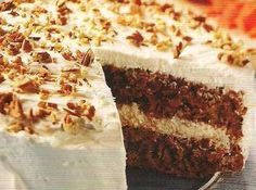 Easy Carrot Cake. This really is easy, and takes a lot less time to make because it's semi-homemade. I used reduced fat cream cheese. I topped mine differently though. Makes the house smell amazing.