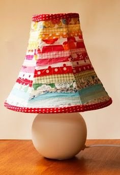 fabric covered lamp shade.