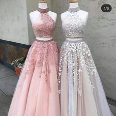 Prom Dress High Neck Appliques Two Piece Sleeveless Ball Gown Tulle Lace Sexy Open Back Long Pink Junior Prom Party Dresses - My Sweet Dress Prom Dresses Two Piece, Cute Prom Dresses, 15 Dresses, Homecoming Dresses, Pretty Dresses, 1940s Dresses, Prom Gowns, Two Piece Dress, Dress Prom