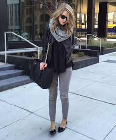 Chunky scarf and skinny pants...and of course Loly flats! Thanks to Rebecca Stice for the pic!