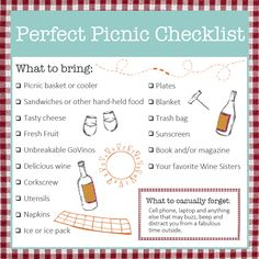 NEW: Perfect Picnic Checklist, on the Wine Sisterhood Blog Picnic Food List, Picnic Date Food, Picnic Dinner, Picnic Time, Picnic Ideas, Picnic Parties, Picnic Recipes, Outdoor Parties, Beach Picnic Foods