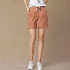 dd3a26b487a Summer Shorts Women High Waist Fashion Pleated Loose Solid Cotton Linen  Feminino Short For Women
