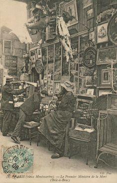 photo française NB : carte postale, Paris, 1904, le vieux Montmartre, bric à brac, 1900s