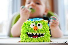 1 year old birthday photo ideas | Monster themed cake smash | Deanna Loren Photography
