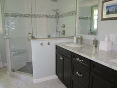 Create A Transitional Look Hand Mold Subway Tile With Bianco Carrara Marble And Mosaic Accent