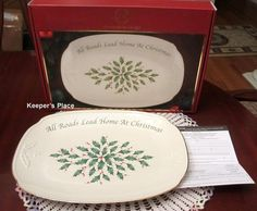 Lenox Holiday Porcelain China All Roads Lead Home At Christmas Plate Tray New
