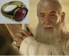 The Lord of the Rings/Hobbit 1pc Gold Plated Gandalf Ring Red Resin Diamond Gift