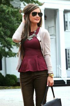 Peplum is a great option for work & transitions well into a going out look & for the holidays. Opt for one in a rich burgundy hue & dress it up with a statement necklace that sparkles.
