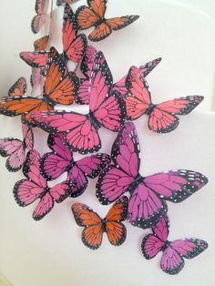 new 33 pink edible butterflies - butterfly decoration - edible cake decoration - blush wedding favors by Uniqdots on Etsy