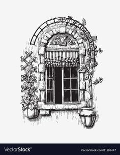 Open window sketch Vintage Royalty Free Vector Image , - New Pin Landscape Pencil Drawings, Landscape Sketch, Pencil Art Drawings, Art Drawings Sketches, Window Drawings, Landscape Borders, Landscape Timbers, Architecture Drawing Sketchbooks, Architecture Sketches
