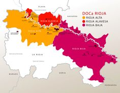Mapa vinos D.O.P. Rioja (Spain)