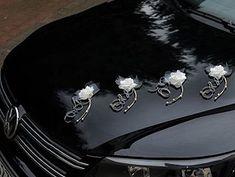 dcoration fleur organza et perles voiture mariage ces superbes fleurs blanches agrmentes de perles - Ventouse Pour Decoration Voiture Mariage