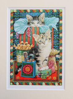 Lesley Anne Ivory, Matted Vintage Cat Print, Christmas Cats - Tabby Kittens and Christmas Presents