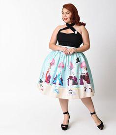 Unique Vintage Plus Size 1950s Pastel Beauty Salon High Waist Swing Skirt