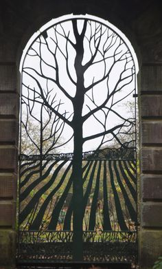 "This is a metal gate called, ""The Rabbit Gate - Norton Priory"", but really should be done in stained leaded glass I think."