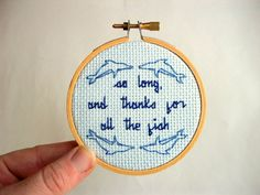 "Alicia Watkins' Nerdy Cross Stitch: ""So Long And Thanks For All The Fish"" The Hitchhiker's Guide To The Galaxy"