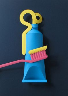 Paper pink toothbrush