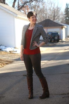 Striped blazer, maroon tank, skinny cargos, Frye Vera Slouch