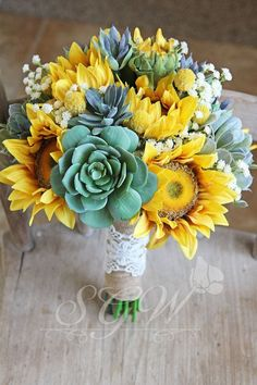 Sunflowers and Succulents Rustic Burlap and Lace Wedding Bridal Bouquet