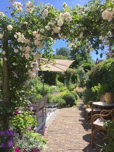 tuin inspiratie To plant a garden is to believe in tomorrow Small Courtyard Gardens, Small Courtyards, Backyard Vegetable Gardens, Back Gardens, Outdoor Gardens, Porch Garden, Backyard Garden Design, Garden Cottage, Backyard Drainage