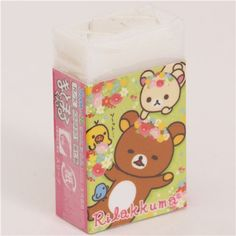 cute Rilakkuma bear picnic with flower meadow eraser 1