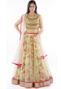 Beige Floral Printed Lehenga with Embroidered Choli