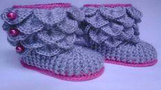 Zapatos de bebe tejidos en crochet ganchillo