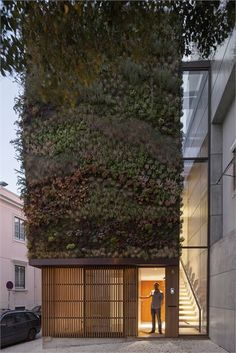 Modern house in Travessa do Patrocínio (Lisbon, Portugal) with vertical garden walls. Click through to see the rest of the place, too.
