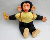 """Vintage Mr. Bim Stuffed Toy Monkey With Bananna 1950s  There was also a Monkey like this called """"Zippy"""" in the 60's that was popular."""