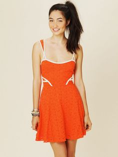 Free People Sunny Side Eyelet Fit and Flare Dress in Orange (sunrise) - Lyst