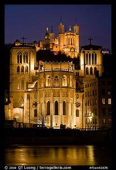 Cathedrale St Jean, Basilique Notre Dame de Fourviere by night. Lyon, France
