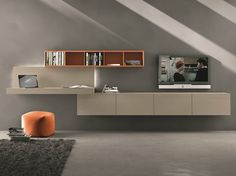 Sectional wall-mounted TV wall system I-modulArt - 297 by Presotto Industrie Mobili design Pierangelo Sciuto