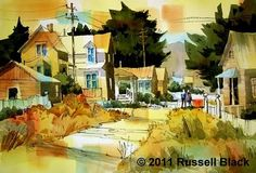 "Russell Black   ""Old D Street - Virginia City""    15"" x 22"" - Watercolor"