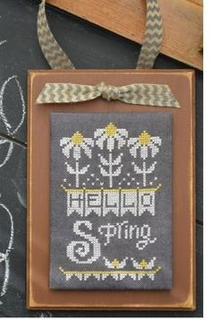 """April Chalk is the title of this cross stitch pattern in the Hands On Design series """"A Year In Chalk"""". The cross stitch pattern is stitched with Gentle Art Sampler threads (Chalk, Ohio Lemon Pie)."""